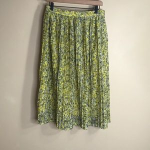 Who what wear yellow pleated floral midi skirt